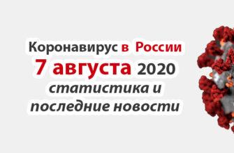 Коронавирус в России на 7 августа 2020 года
