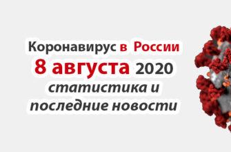 Коронавирус в России на 8 августа 2020 года