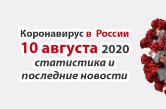 Коронавирус в России на 10 августа 2020 года