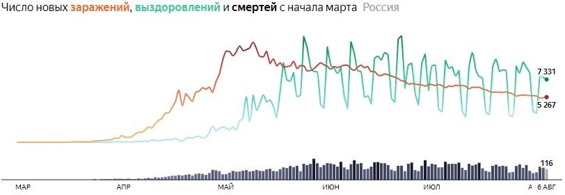 Ситуация с COVID-19 в России по дням статистика в динамике на 6 августа 2020 года
