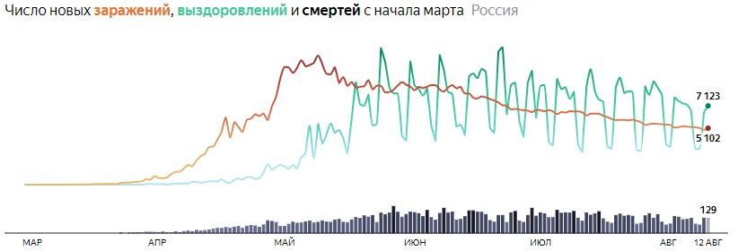 Ситуация с COVID-19 в России по дням статистика в динамике на 12 августа 2020 года