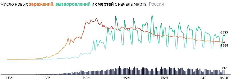 Ситуация с COVID-19 в России по дням статистика в динамике на 19 августа 2020 года