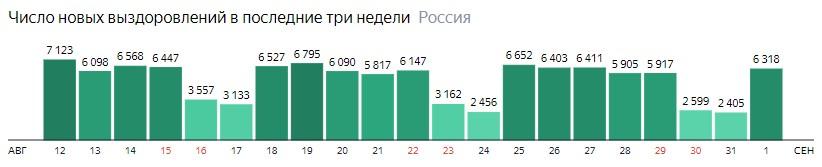Число новых выздоровлений от короны по дням в России на 1 сентября 2020 года