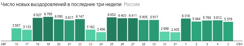 Число новых выздоровлений от короны по дням в России на 5 сентября 2020 года