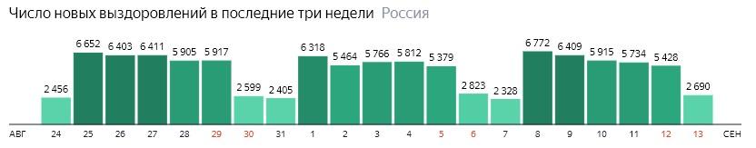 Число новых выздоровлений от короны по дням в России на 13 сентября 2020 года