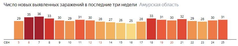 Число новых зараженных КОВИД-19 по дням в Амурской области на 25 сентября 2020 года