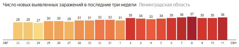 Число новых заражений коронавирусом COVID-19 по дням в Ленинградской области на 11 сентября 2020 года