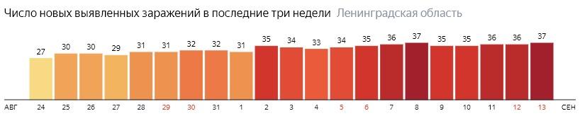 Число новых заражений коронавирусом COVID-19 по дням в Ленинградской области на 13 сентября 2020 года