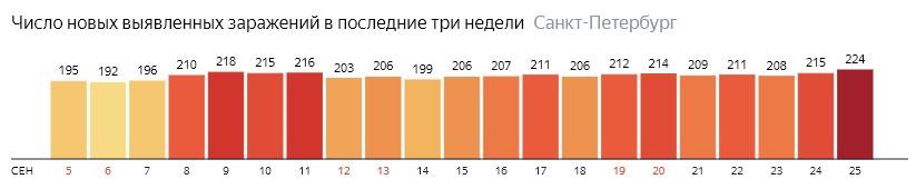 Число новых зараженных КОВИД-19 по дням в Санкт-Петербурге на 25 сентября 2020 года