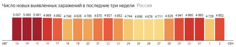 Число новых зараженных коронавирусом  по дням в России на 2 сентября 2020 года