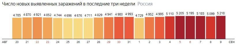 Число новых зараженных коронавирусом  по дням в России на 9 сентября 2020 года