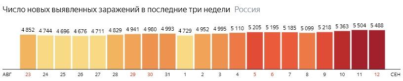 Число новых зараженных коронавирусом  по дням в России на 12 сентября 2020 года