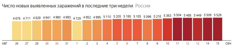Число новых зараженных коронавирусом  по дням в России на 15 сентября 2020 года
