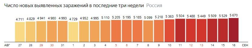 Число новых зараженных коронавирусом  по дням в России на 16 сентября 2020 года