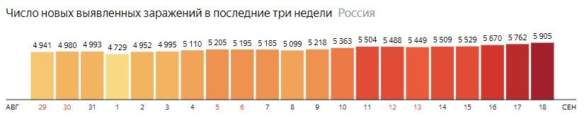 Число новых зараженных коронавирусом  по дням в России на 18 сентября 2020 года