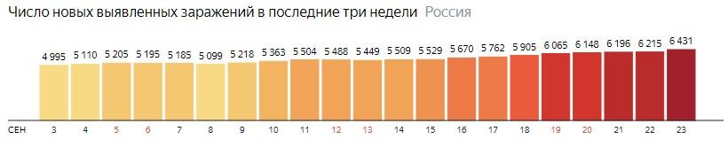 Число новых зараженных коронавирусом  по дням в России на 23 сентября 2020 года