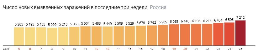 Число новых зараженных коронавирусом  по дням в России на 25 сентября 2020 года