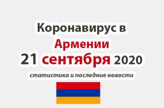 Коронавирус в Армении на 21 сентября 2020 года