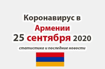 Коронавирус в Армении на 25 сентября 2020 года