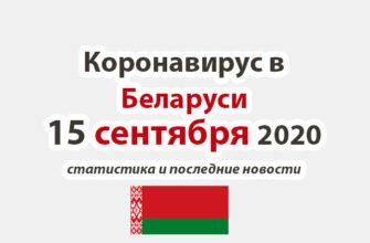 Коронавирус в Беларуси на 15 сентября 2020 года