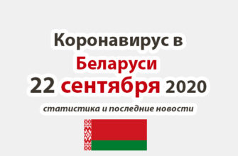 Коронавирус в Беларуси на 22 сентября 2020 года
