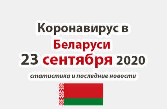Коронавирус в Беларуси на 23 сентября 2020 года