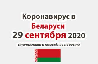 Коронавирус в Беларуси на 29 сентября 2020 года