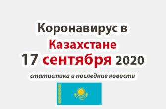 Коронавирус в Казахстане на 17 сентября 2020 года