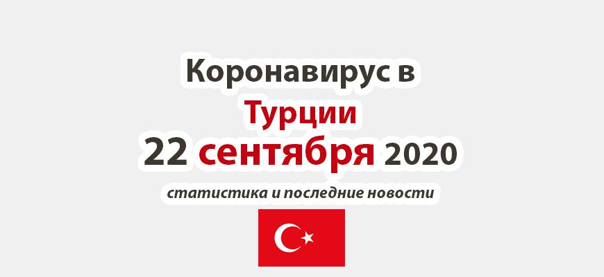 Коронавирус в Турции на 22 сентября 2020 года