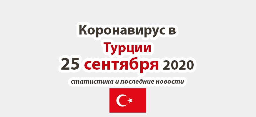 Коронавирус в Турции на 25 сентября 2020 года