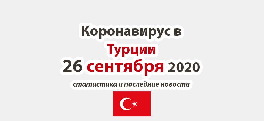 Коронавирус в Турции на 26 сентября 2020 года