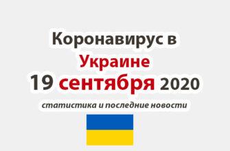 Коронавирус в Украине на 19 сентября 2020 года