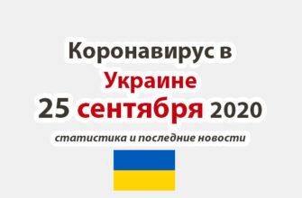 Коронавирус в Украине на 25 сентября 2020 года