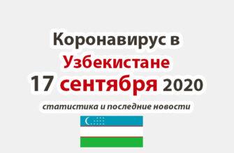 Коронавирус в Узбекистане на 17 сентября 2020 года