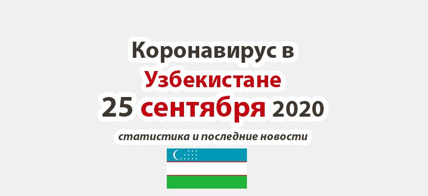 Коронавирус в Узбекистане на 25 сентября 2020 года