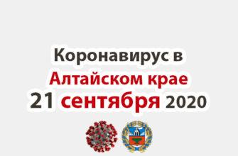 Коронавирус в Алтайском крае на 21 сентября 2020 года