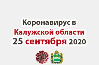 Коронавирус в Калужской области на 25 сентября 2020 года