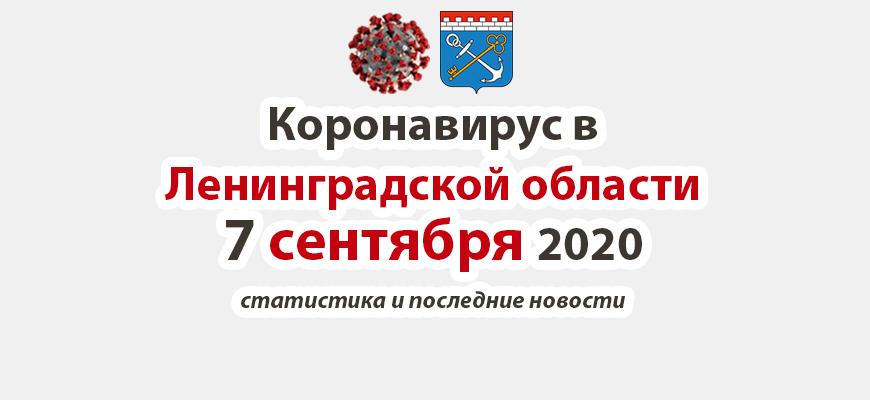 Коронавирус в Ленинградской области 7 сентября 2020