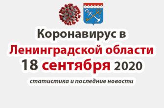 Коронавирус в Ленинградской области 18 сентября 2020