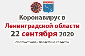 Коронавирус в Ленинградской области 22 сентября 2020