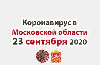 Коронавирус в Московской области на 23 сентября 2020 года