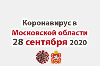 Коронавирус в Московской области на 28 сентября 2020 года