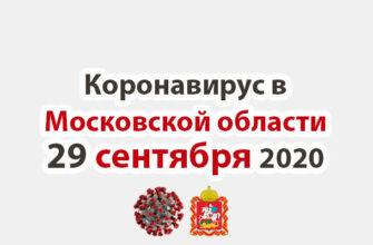 Коронавирус в Московской области на 29 сентября 2020 года