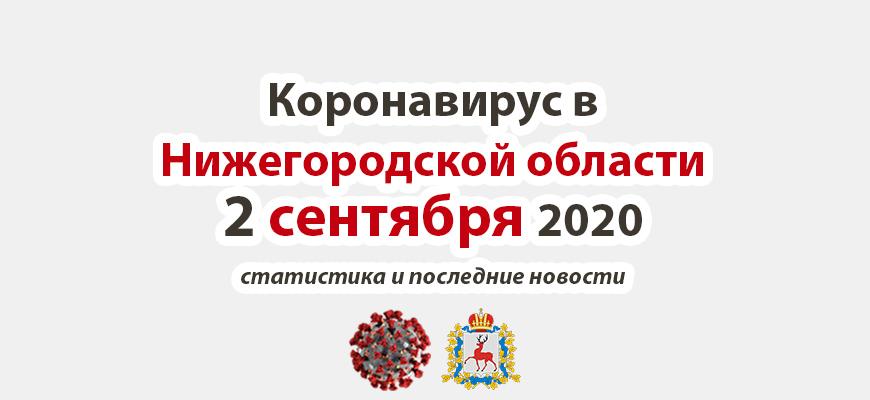 Коронавирус в Нижегородской области на 2 сентября 2020 года