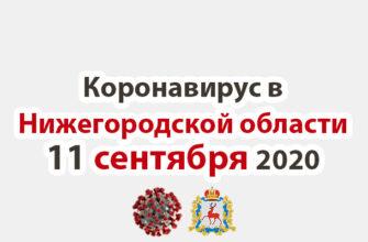 Коронавирус в Нижегородской области на 11 сентября 2020 года