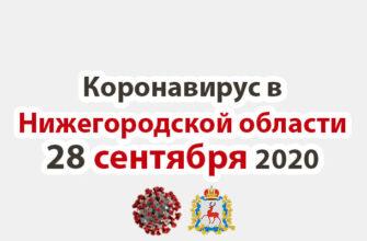 Коронавирус в Нижегородской области на 28 сентября 2020 года