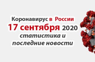 Коронавирус в России на 17 сентября 2020 года