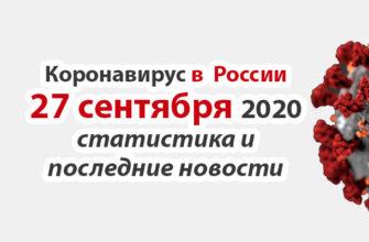 Коронавирус в России на 27 сентября 2020 года