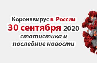 Коронавирус в России на 30 сентября 2020 года