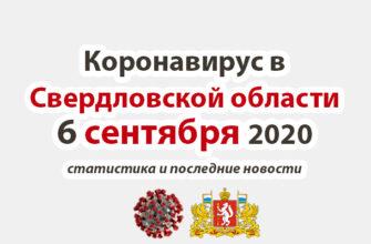 Коронавирус в Свердловской области на 6 сентября 2020 года